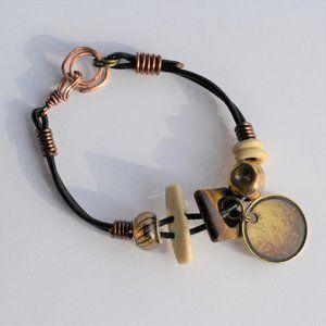 Handmade Copper Brass Tiger's Eye Leather Bracelet